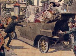 История терроризма.Был убит Эрцгерцог Фердинанд.Начало войны в 1914 г