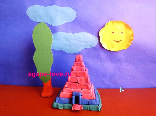 Лепить из пластилина.Пирамида Египта.