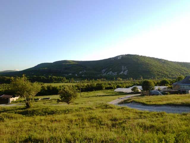 Гора и лес-вид издалека